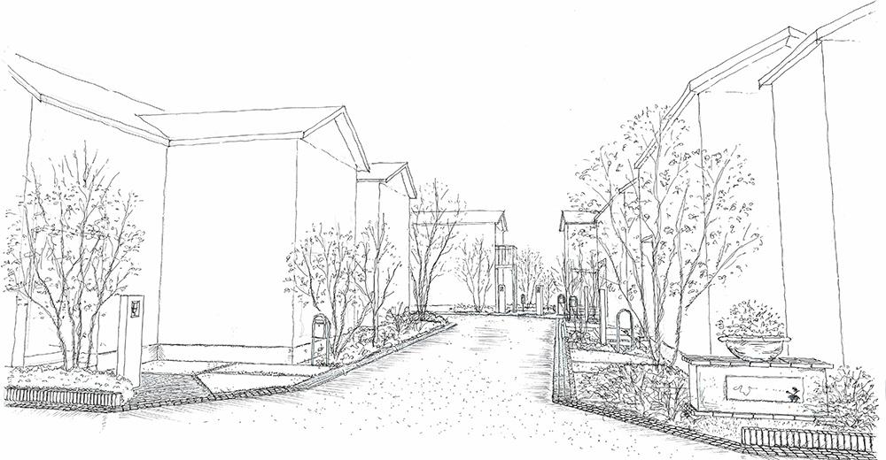 分譲住宅街並み計画のパース